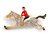 Crystal Racing Horse and Jockey Brooch In Gold Tone Metal - 55mm Across