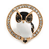 Adorable Black/ White Enamel Owl In The Crystal Circle Brooch In Gold Tone Metal - 35mm Diameter