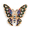 Multicoloured Enamel Crystal Butterfly Brooch In Gold Tone Metal - 55mm Across