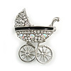Clear and AB Crystal Pram Brooch Baby's Pram Carriage in Silver Tone Metal - 35mm Tall
