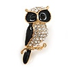 Small Adorable Crystal Black Enamel Owl Brooch In Gold Tone Metal - 33mm Tall