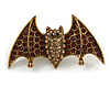 Topaz/ Citrine Crystal Bat Brooch In Aged Gold Tone Metal - 60mm Across