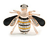 Small Crystal Bee Brooch In Gold Tone Metal - 35mm Across