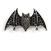 Black/ Grey Crystal Bat Brooch In Silver Tone Metal - 60mm Across