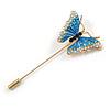 Gold Tone Blue/ Milky White Enamel Crystal Butterfly Lapel, Hat, Suit, Tuxedo, Collar, Scarf, Coat Stick Brooch Pin - 63mm Long