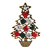 Vintage Inspired Crystal Christmas Tree in The Pot Brooch In Aged Gold Tone Metal - 55mm Tall