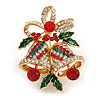 Christmas Crystal Jingle Bells Brooch In Gold Tone Metal (Red/ Green/ Clear) - 50mm Tall