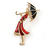 Red/ Black Enamel Lady with Crystal Umbrella Brooch In Gold Tone - 50mm Tall