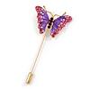 Gold Tone Pink/ Purple Enamel Crystal Butterfly Lapel, Hat, Suit, Tuxedo, Collar, Scarf, Coat Stick Brooch Pin - 63mm Long