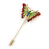 Gold Tone Light Green/ Red Enamel Crystal Butterfly Lapel, Hat, Suit, Tuxedo, Collar, Scarf, Coat Stick Brooch Pin - 63mm Long
