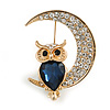 Blue/ Clear Crystal Owl On The Moon Brooch In Gold Tone Metal - 35mm Tall