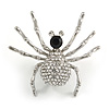 Sparkling Crystal Spider Brooch In Silver Tone Metal (Clear/ Black) - 40mm Tall