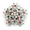 Christmas Crystal Snowflake Brooch In Silver Tone Metal (Red/ Green/ AB/ Clear) - 45mm Across