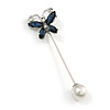 Small Midnight Blue/ Clear Crystal Butterfly with Pearl Bead Lapel, Hat, Suit, Tuxedo, Collar, Scarf, Coat Stick Brooch Pin in Silver Tone - 60mm L