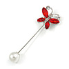 Small Red/ Clear Crystal Butterfly with Pearl Bead Lapel, Hat, Suit, Tuxedo, Collar, Scarf, Coat Stick Brooch Pin in Silver Tone - 60mm L