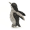 Black/ Clear Crystal Penguin Brooch In Aged Silver Tone Metal - 50mm Tall