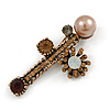 Vintage Inspired Crystal Pearl Fancy Brooch In Aged Gold Tone Metal (Topaz, Amber, Grey) - 65mm Across