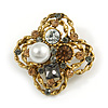 Vintage Inspired Crystal, Pearl Floral Brooch In Antique Gold Tone Metal - 45mm Diameter