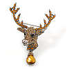 Statement Topaz Coloured Austrian Crystal Stags Head Brooch/ Pendant In Aged Silver Tone - 70mm Length