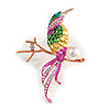Exotic Multicoloured Enamel Crystal Bird Brooch In Gold Tone Metal - 65mm Tall