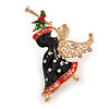 Beautiful Guardian Angel Black/ Red Enamel Clear/ Red Crystal Brooch In Gold Tone Xmas Christmas - 58mm L
