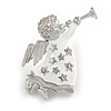 Silver Tone White Enamel, Clear Crystal 'Beautiful Angel' Brooch - 50mm L