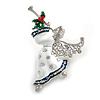 Beautiful Guardian Angel White/ Blue Enamel Clear/ Red Crystal Brooch In Silver Tone Xmas Christmas - 58mm L