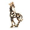Gold Tone Black Enamel Giraffe Brooch - 50mm Tall