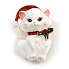 Xmas Christmas White Enamel Cat Kitty Brooch In Gold Tone - 40mm Tall