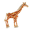 Gold Tone Crystal with Orange Spots Giraffe Brooch - 65mm Tall