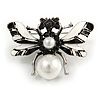 Striking Enamel Crystal, Pearl Bead Bumble Bee Brooch In Silver Tone Metal (Black/ White) - 55mm Across