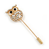 Gold Tone Clear Crystal Owl Lapel, Hat, Suit, Tuxedo, Collar, Scarf, Coat Stick Brooch Pin - 65mm L