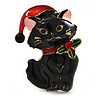 Xmas Christmas Black Enamel Cat Kitty Brooch In Gold Tone - 40mm Tall
