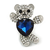 Little Teddy Bear Crystal Brooch In Silver Tone (Clear/ Dark Blue) - 40mm Tall