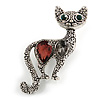 Vintage Inspired Textured Crystal Cat Brooch In Aged Silver Tone Metal - 50mm Tall