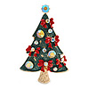 Green Enamel Crystal Christmas Tree with Red Bows In Gold Tone Metal - 52mm Tall