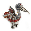 Red/ Grey Enamel Pelican Bird Brooch In Silver Tone Metal - 43mm Across