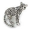 Unique Leopard Brooch In Silver Tone Metal with Black Spots - 42mm Across