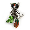 Wise Crystal Owl Brooch In Silver Tone Metal (Grey/ Green) - 40mm Long