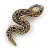 Small Champagne/ Black Crystal Snake Brooch In Aged Gold Tone Metal - 40mm Long