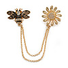 Bee and Flower Chain Brooch In Gold Tone Finish