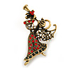 Beautiful Guardian Angel Clear/ Green/ Red Crystal Brooch In Aged Gold Tone Xmas Christmas - 50mm L