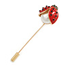 Gold Tone Red Enamel Faux Pearl Ladybird/ Lady Bug Lapel, Hat, Suit, Tuxedo, Collar, Scarf, Coat Stick Brooch Pin - 70mm Long