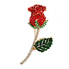 Statement Red/ Green/ Clear Crystal Rose Brooch In Gold Tone - 68mm Tall