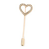 Gold Tone Clear Crystal Open Heart Lapel, Hat, Suit, Tuxedo, Collar, Scarf, Coat Stick Brooch Pin - 60mm L