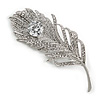 CZ/ Clear Austrian Crystal Peacock Feather Brooch In Silver Tone Metal - 7cm Long