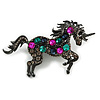 Multicoloured Crystal Unicorn Brooch In Black Tone Metal - 8cm Across