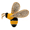 Small Crystal Enamel Bee Brooch In Gold Tone Metal (Black/ Yellow) - 35mm Across