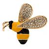 Small Crystal Enamel Bee Brooch In Gold Tone Metal (Black/ Yellow) - 35mm Across