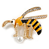 Funky Crystal Enamel Wasp Brooch In Gold Tone Metal (Black/ Yellow) - 40mm Across